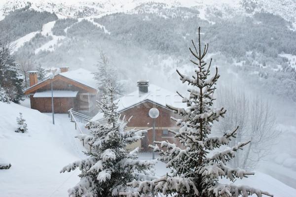 Stockfoto: Ski · resort · sneeuwstorm · gebouw · natuur · sneeuw