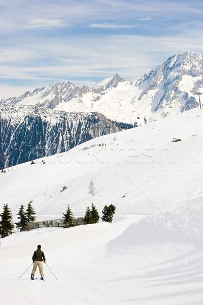 Kayakçı izlemek alpine vadi Fransa Stok fotoğraf © naumoid