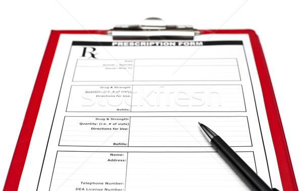 Rx caneta prescrição forma vermelho clipboard Foto stock © naumoid