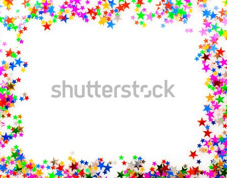 Konfetti képkeret csillag alakú különböző színek Stock fotó © naumoid