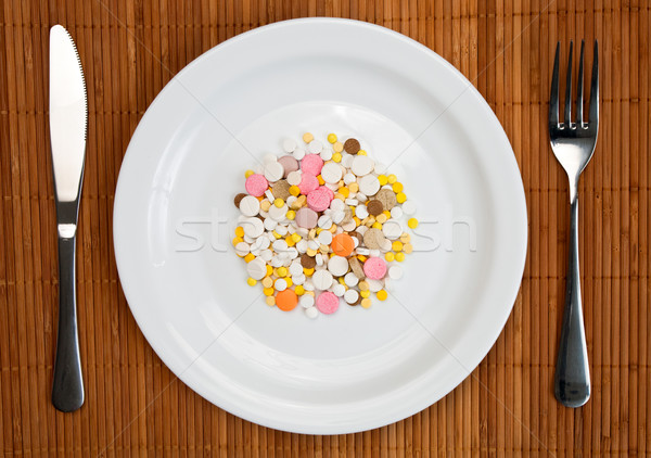 Plate with pills Stock photo © naumoid