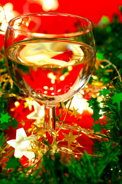 Borospohár dekoráció üveg fehérbor karácsony sekély Stock fotó © naumoid