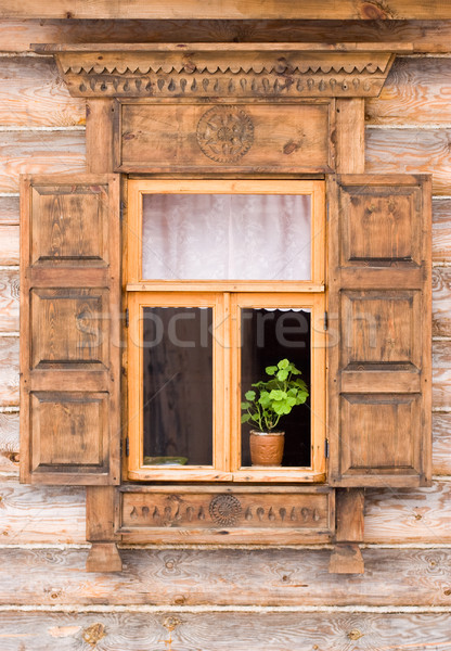 Flower in a pot  behind the decorated window Stock photo © naumoid