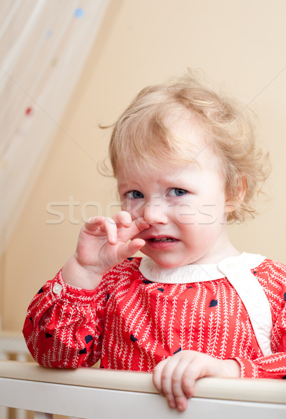 Baby portret triest meisje scheur oog Stockfoto © naumoid