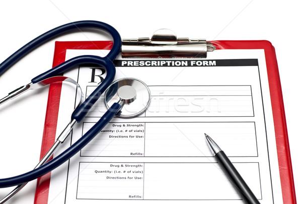 Rx estetoscópio prescrição forma clipboard caneta Foto stock © naumoid