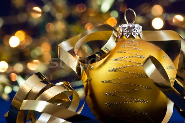 Christmas decoratie gouden selectieve aandacht achtergrond lichten Stockfoto © naumoid