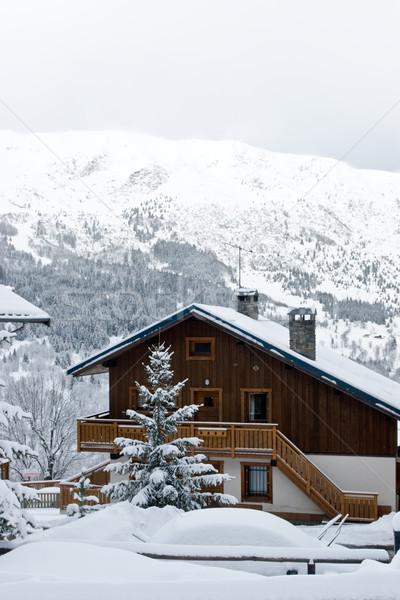 Sí üdülőhely hóvihar égbolt sport természet Stock fotó © naumoid