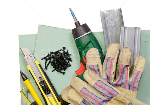 Gipsplaten tools ingesteld metaal handschoenen witte Stockfoto © naumoid