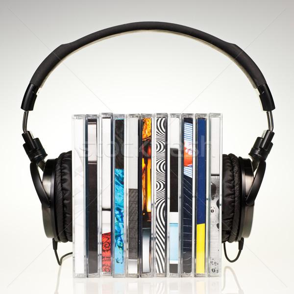 Fejhallgató boglya cd-k hifi oktatás csoport Stock fotó © naumoid