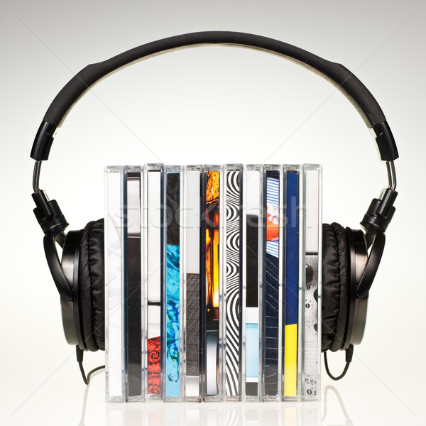 Hoofdtelefoon cds onderwijs groep Stockfoto © naumoid