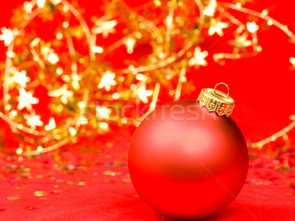 Karácsony dekoráció piros csecsebecse elmosódott háttér Stock fotó © naumoid