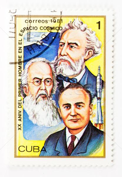 почтовая марка Vintage кубинский штампа бумаги письме Сток-фото © naumoid