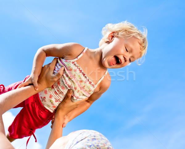 Сток-фото: счастливым · девочку · улице · матери · ребенка