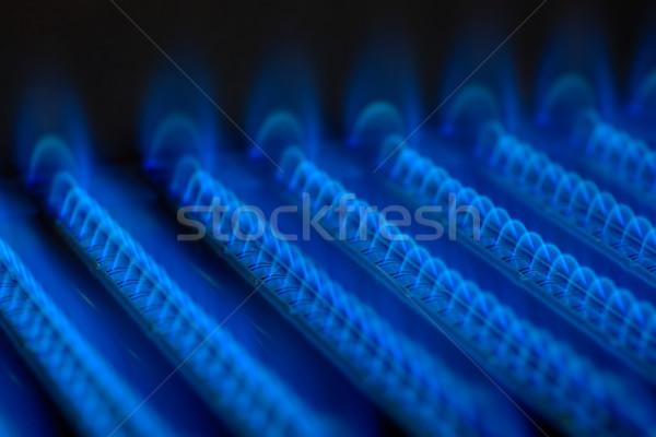 Gaz flamme bleu flammes à l'intérieur feu Photo stock © naumoid