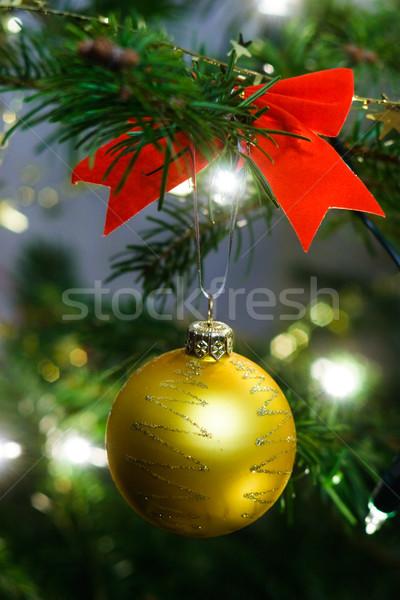 Karácsonyfa dekoráció citromsárga karácsony labda fenyőfa Stock fotó © naumoid