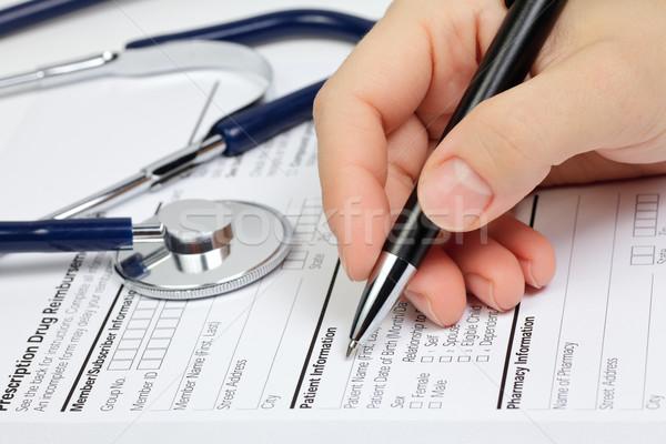 Rx paciente informações mão caneta prescrição Foto stock © naumoid