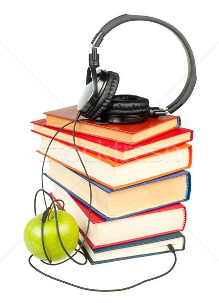 Hifi fejhallgató boglya öreg könyvek zöld Stock fotó © naumoid