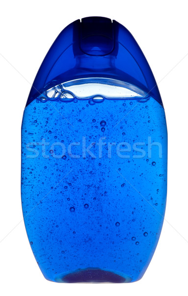 Stockfoto: Shampoo · Blauw · transparant · fles · witte · lichaam