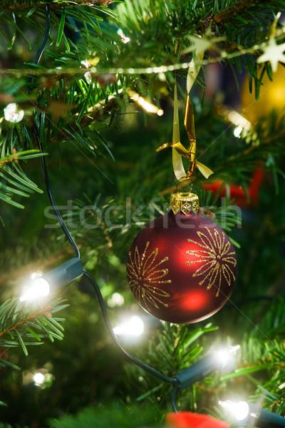 Noel ağacı dekorasyon Noel top çelenk Stok fotoğraf © naumoid