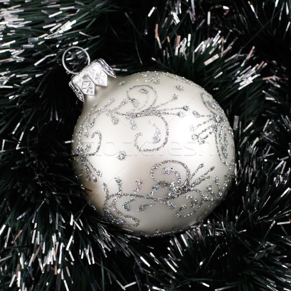 Karácsony dekoráció fehér csecsebecse zöld háttér Stock fotó © naumoid