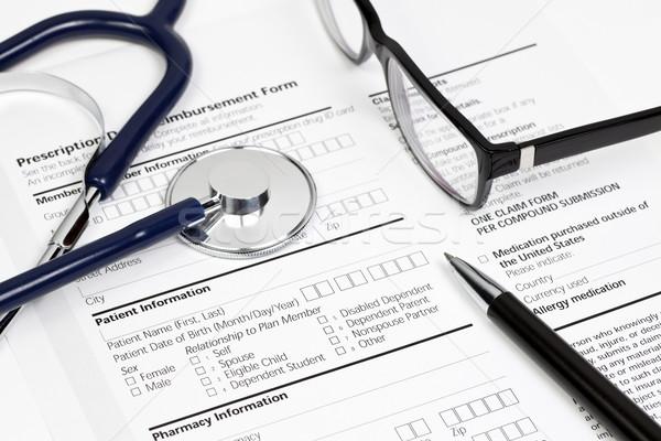 Rx paciente información pluma estetoscopio gafas Foto stock © naumoid