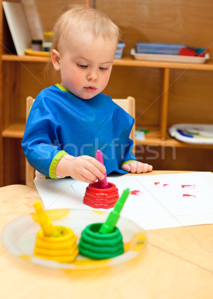 Child at painting lesson Stock photo © naumoid