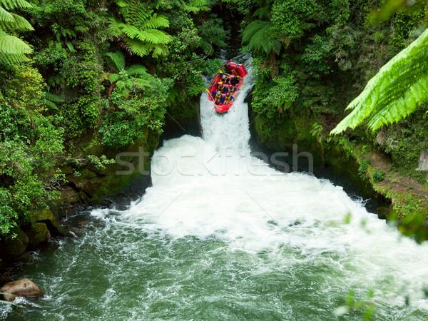 Vadvízi vadvizi evezés csoport folyó Új-Zéland víz Stock fotó © naumoid