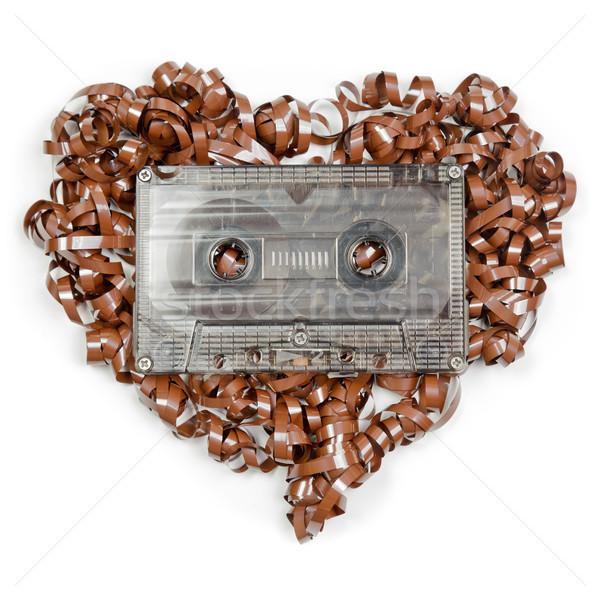 Szív alakú audio szalag klasszikus átlátszó Stock fotó © naumoid
