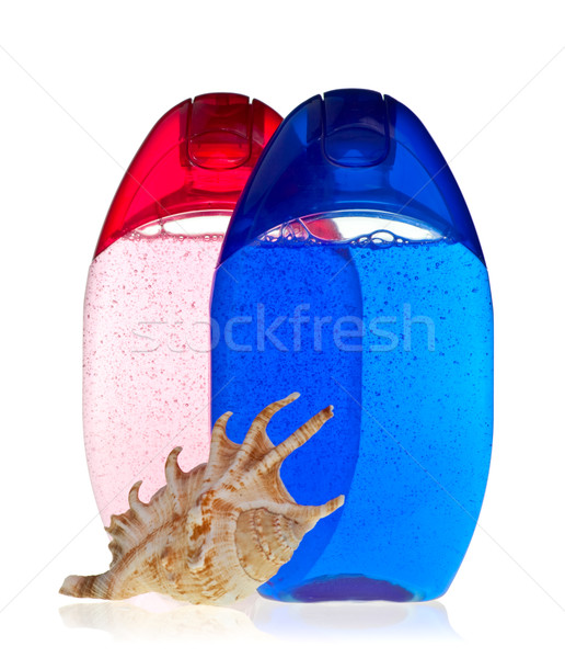 Shampooing bleu transparent bouteilles shell Photo stock © naumoid