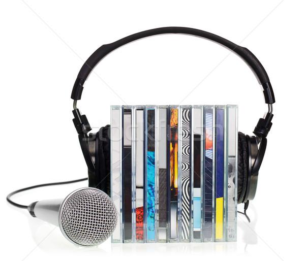 Fejhallgató boglya cd-k hifi mikrofon fehér Stock fotó © naumoid