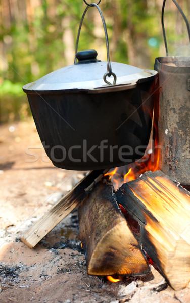 Fogueira camping ardente comida fogo madeira Foto stock © naumoid
