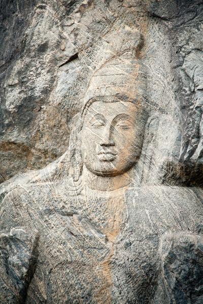 Buda yüz heykel tapınak Sri Lanka Tanrı Stok fotoğraf © naumoid