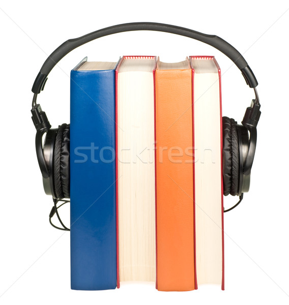Könyvek fejhallgató csetepaté hifi fehér diák Stock fotó © naumoid