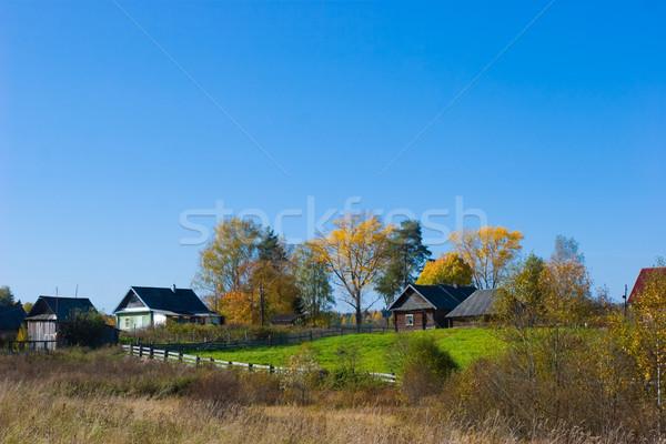 Wiejskie sceny jesienią kraju domów niebo trawy Zdjęcia stock © naumoid