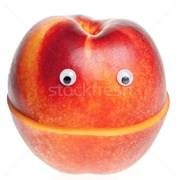 Nectarina engraçado fruto vermelho sorridente Foto stock © naumoid