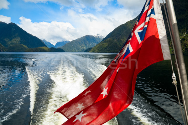 Vlag New Zealand achtersteven golf cruiseschip twijfelachtig Stockfoto © naumoid