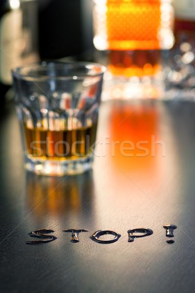 Szó stop üveg whiskey sekély mélységélesség Stock fotó © naumoid