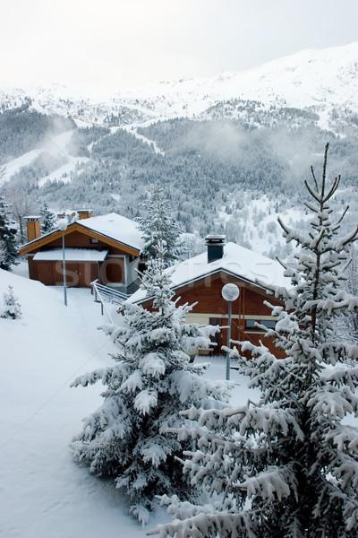 Ski resort sneeuwstorm sport natuur landschap Stockfoto © naumoid