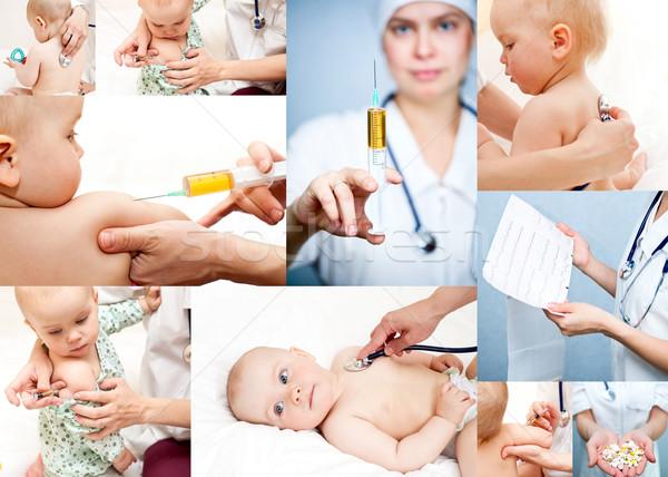 Kindergeneeskunde collectie kinderarts onderzoeken weinig Stockfoto © naumoid
