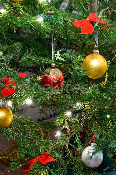 Сток-фото: рождественская · елка · украшение · Рождества · гирлянда · фары