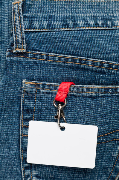Stock photo: Blank badge in a pocket