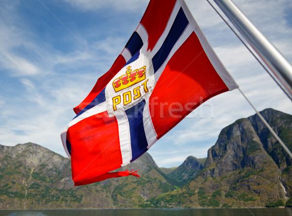 Norvég posta zászló természet nyár óceán Stock fotó © naumoid