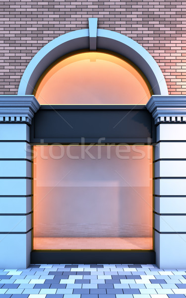 Classical empty storefront with the evening lighting. Stock photo © nav