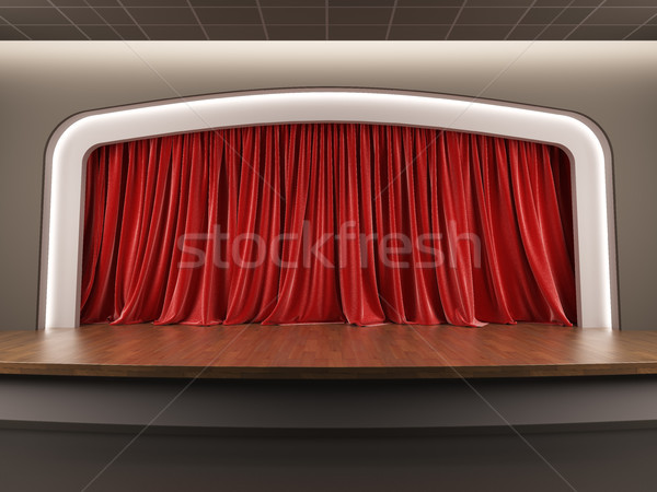 Empty stage with red velvet curtain. Stock photo © nav