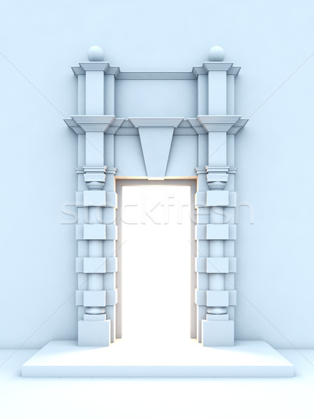 Klasszikus porta fény bent 3d illusztráció épület Stock fotó © nav