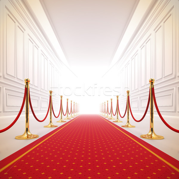 Stock photo: Red carpet path to success light.