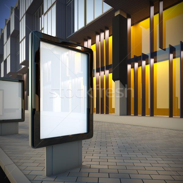3d illustration centre-ville vue sur la rue bâtiment ville lumière Photo stock © nav