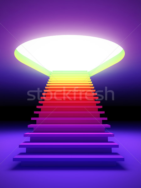 Stock photo: Colorful stair to the future.