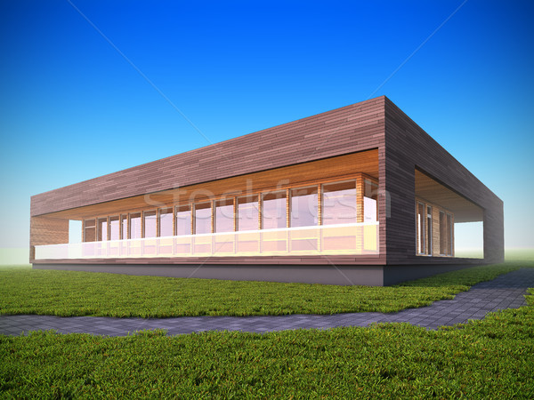 Ecological modern wood house. Stock photo © nav