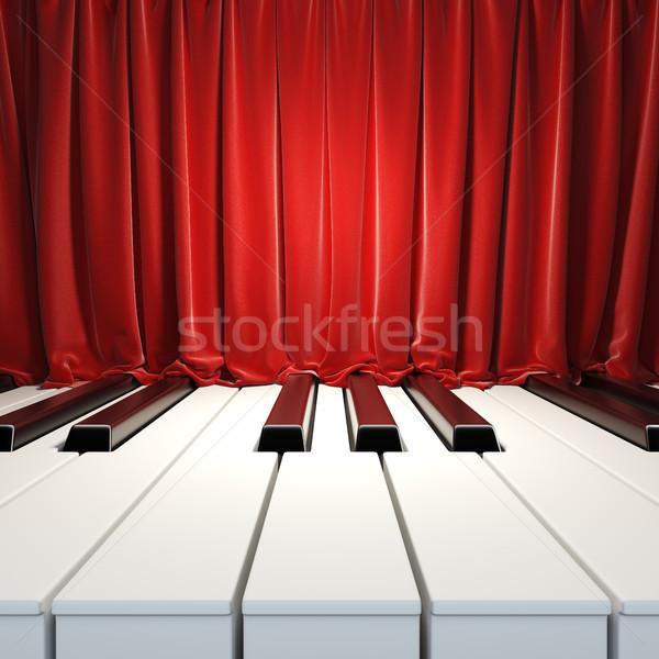 Zongora kulcsok piros függönyök 3d bársony Stock fotó © nav